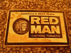 RED MAN America's Best Chewing Tobacco Solid Brass Belt Buckle Preowned