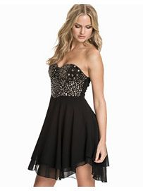 Rock/Chic Bustier Skater Dress - Te Amo - Black/Silver - Party Dresses - Clothing - Women - Nelly.com