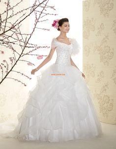 Ejtett vállú  Ujjatlan Cipzár Menyasszonyi ruhák 2015