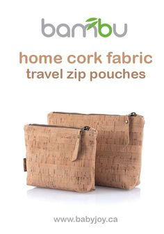 Stylish Bambu travel zip pouches that are made from environmentally friendly cork fabric. Cork fabric is dust and stain-repellent, and inherently anti-bacterial and hypoallergenic. #Bambu #CorkFabric