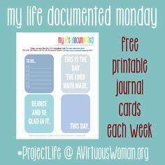 My Life Documented Mondays {Project Life 2014} @ AVirtuousWoman.org #ProjectLife | A Virtuous Woman