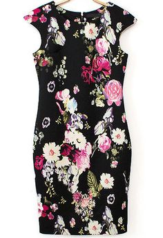 Black Cap Sleeve Floral Bodycon Dress 21.00