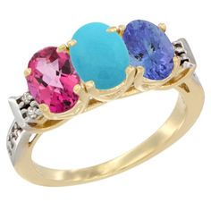14K Yellow Gold Natural Pink Topaz, Turquoise and Tanzanite Ring 3-Stone Oval 7x5 mm Diamond Accent, sizes 5 - 10 ** Awesome product. Click the image : Jewelry Ring Bands