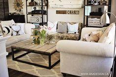 Charming Rustic Living Room Trellis Rug Industrial Shelves #farmhouseliving
