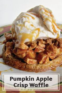 Dress up your morning waffles with a juicy apple-cinnamon fruit topping and crispy pumpkin spice crumbles. This sweet and decadent recipe is a great way to turn your breakfast into a special treat, so whip up this pile of yummy, fall-flavored goodness for a friend's or family member's birthday morning in bed!