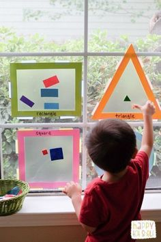 Shapes Sorting Suncatcher - Happy Tot Shelf - Shape sorting activity for toddlers - Childcare Activities, Activities For 2 Year Olds, Toddler Learning Activities, Sorting Activities, Infant Activities, Shape Activities Kindergarten, Math Activities For Toddlers, Indoor Activities, 3 Year Old Montessori Activities
