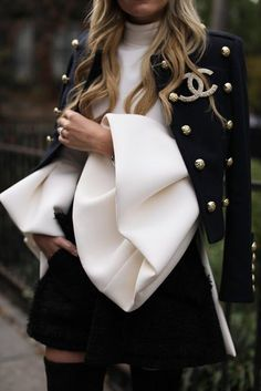 Chanel with bell sleeves and military jacket for Fall Fashion. See more at www.HerStyledView.cm