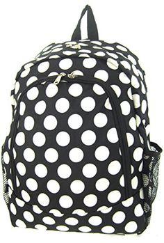 77ad7edc9549 165 Print School Travel Backpack Bag Black White Big Dot    More info could  be