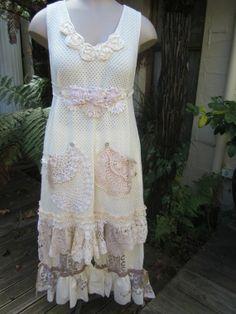 vintage kitty tunic dress SHABBY CHIC soft by sistersroseandruby, $155 ...
