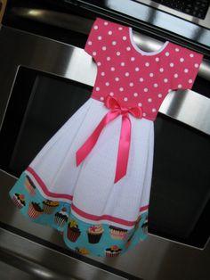 Vestido de toalla de plato para la puerta del horno - dulce Cupcake Colección Retro