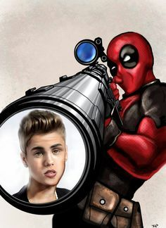 Deadpool Hunts Justin Bieber. 10 likes and it will happen