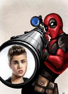 Deadpool Hunts Justin Bieber. 10 likes and it will happen