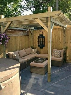 Cozy backyard patio ideas outdoor with hot tub dream pergola decoration . Backyard Seating, Small Backyard Landscaping, Small Patio, Backyard Ideas, Garden Seating, Garden Ideas, Screened Patio, Landscaping Ideas, Cozy Backyard