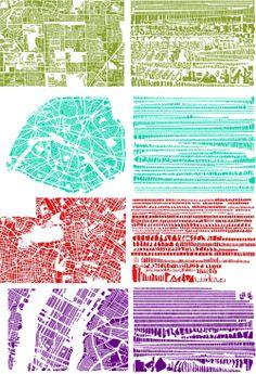 Armelle Caron unmaps the city… Art Et Design, Map Design, Graphic Design, Paris Tokyo, Plan Ville, Glass Bead Game, Plan Paris, Urban Ideas, Map Quilt