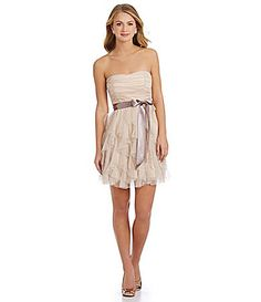 Teeze Me Strapless Glitter Cork-Screw Dress | Dillards.com