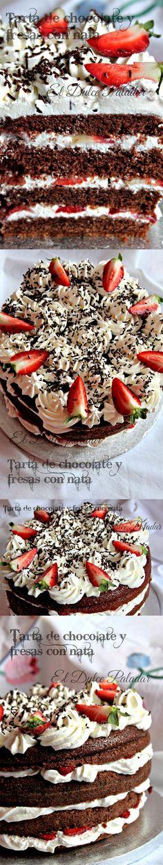 Tarta de chocolate y fresas con nata - http://eldulcepaladar.blogspot.com.es/