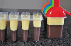 Chocolate and vanilla pudding homeade pops!! Freeze overnight