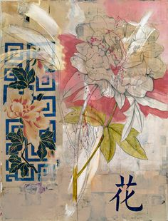 'Peony' mixed media collage by Michael Mew Art And Illustration, Art Floral, Mixed Media Collage, Collage Art, Asian Mixed Media Art, Collages, Mix Media, Grafik Design, Botanical Art