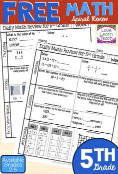 Fifth grade math spiral review that is thorough & uses just one sheet of paper! Use this for 5th grade math homework, 5th grade math activities, 5th grade math worksheets, 5th grade math stations, or 5th grade math test prep. Get a free 1-week sample! Maths Guidés, Teaching Math, Teaching Ideas, Multiplication Games, Teaching Technology, Teaching Methods, Math Classroom, Future Classroom, Classroom Ideas