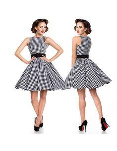 50er Retro Kleid mit Karo Muster Schwarz/Weiß M