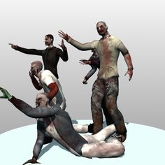 zombie biped animation 3d model - Low Poly Animated Zombies by Kalamona