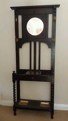 Antique Vintage Hat Coat Umbrella Hall Stand With Mirror Glove Box