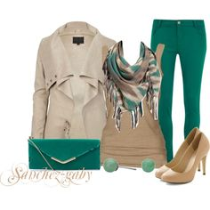 """""""Old Navy Print Scarf & Green Skinny Jeans"""" by sanchez-gaby on Polyvore"""