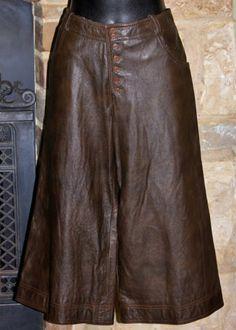 Vintage 70s NEIMAN MARCUS Brown Leather Button up Gauchos by ANNE KLEIN Sz 10