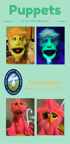Hand Crafted Puppets by Eric using Iridescent Color Safety Eyes, Neon Safety Eyes, and Oval Noses featured on the Puppets and Marionettes Page at http://glasseyesonlinecustomercreations.weebly.com/puppets--marionettes.html #puppetry #puppetmaker #diycrafts #glasseyesonline @holymonkey3 #etsyseller