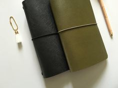 Dark Olive Saffiano Leather Midori Traveler's by PapergeekCo