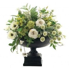 anemone, ranunculus, cream, white, green, black urn