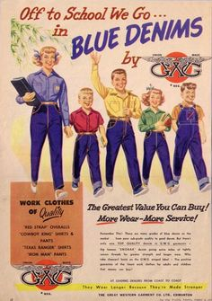 What a gang of chipper students! Advertisement for children's school clothing, The Star Weekly, August 5, c1950. Credit: WCH/RAM.