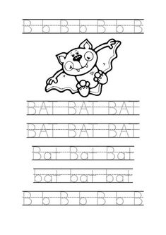 Bat Word Trace Kindergarten Worksheet - Kindergarten Coloring Pages Free