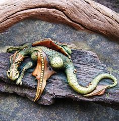 OOAK dragon on driftwood by feythcrafts on Etsy