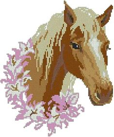 Horse cross stitch embroidery designs.