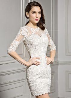 Sheath/Column Scoop Neck Short/Mini Tulle Lace Wedding Dress (002057296)