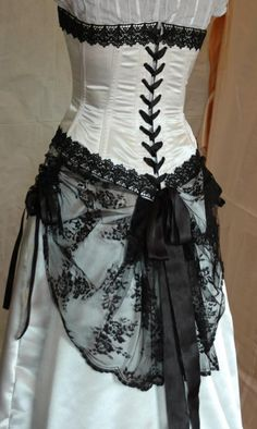 Ivory and black adjustable victorian style wedding dress with steel boned corset