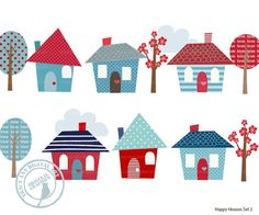 Happy Homes Clip Art  Blue and Red