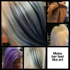 #HairByRachel  #makeherfeellikeart  #pravana #chromasilk #colorlush  #behindthechair #saloncentric  #lovemyclients #platinumblonde #peekaboos   Content shared via Salon Centric Gallery