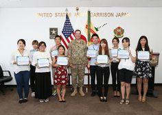 https://flic.kr/s/aHskHJRcW6 | USAG Japan commander recognizes college interns…