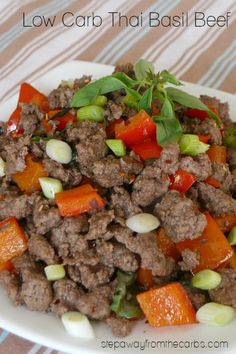 This Thai basil beef recipe is a delicious blend of Asian flavors! Low carb, keto, and sugar free recipe. Serve it with cauliflower rice!