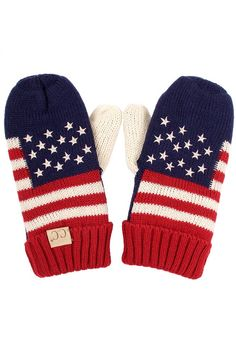 ScarvesMe Kids CC Patriotism American Flag Adult Mitten Gloves (Red) -- Awesome products selected by Anna Churchill