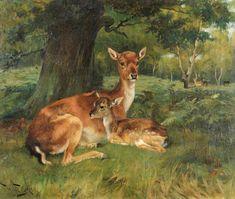Fallow Deer Beside a Tree - Counted cross stitch pattern in PDF format by Maxispatterns on Etsy