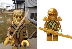 Lego Halloween costume gold ninja from lego ninjago. Weston Halloween 2014
