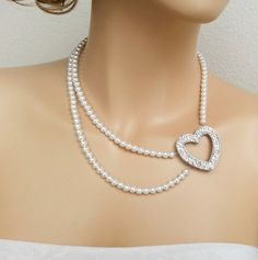 Bridal Rhinestone Heart Pearl Necklace #jewelry #statement #Swarovski #white #crystal #love #fashion #gift #bridesmaids #wedding