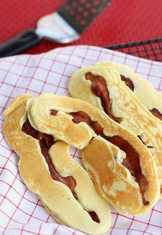 Stack of bacon pancakes