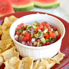 watermelon salsa -- we ate a similar batch at our neighbor's 4th of july party, and it was soooo good!