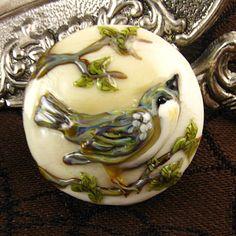 Kerribeads Lampwork Little Bird Focal Bead by kerribeads on Etsy, $125.00