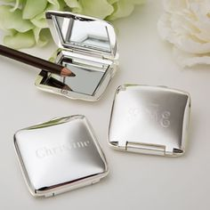Engraved+Compact+Mirror+-+Silver+Plated+-+Square