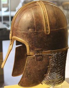 <3 Coppergate Helms     750AD - 775AD.  This iron and brass helmet was found in 1982 in Coppergate, when it was nearly struck by the claw of a mechanical digger.  Luckily the operator stopped to check when he hit something hard. The helmet was a great status symbol for the owner.